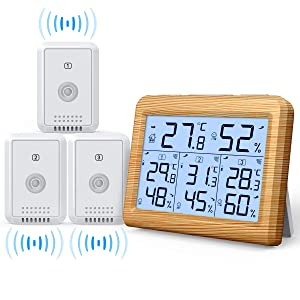 AMIR Indoor Outdoor Thermometer, 3 Channels Digital Hygrometer Thermometer with 3 Sensor, Humidity Monitor Wireless with LCD Display, Room Thermometer and Humidity Gauge for Home(Wooden Yellow)