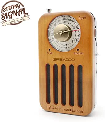 AM/FM Portable Radio, Retro Cherry Wood Pocket Radio with Best Reception, Headphone Jack, Battery Operated Personal Transistor by 2 AA Battery for Jogging, Walking and Travelling Cherry