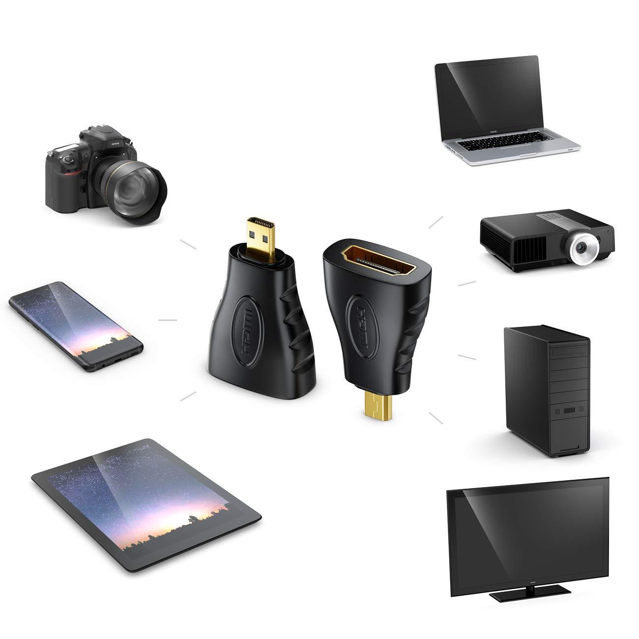 1080p Full HD Connettore HDMI su Connettore micro HDMI 4k Ultra HD Nero UHD deleyCON MK184 HDMI su Adattatore Micro HDMI