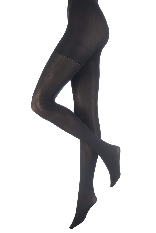 High Waist Slimming Black Pantyhose, 100 Denier Hourglass Opaque Shaper Tights