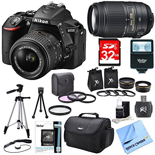Nikon D5500 Black DX-Format Digital SLR Camera Bundle - Includes 18-55mm & 55-300 Lens, Lens Set, Flash, Filter Kit, 32GB SD Card, Carrying Case, Card Wallet, Card Reader, Tripod, Mini Tripod & More by Beach Camera