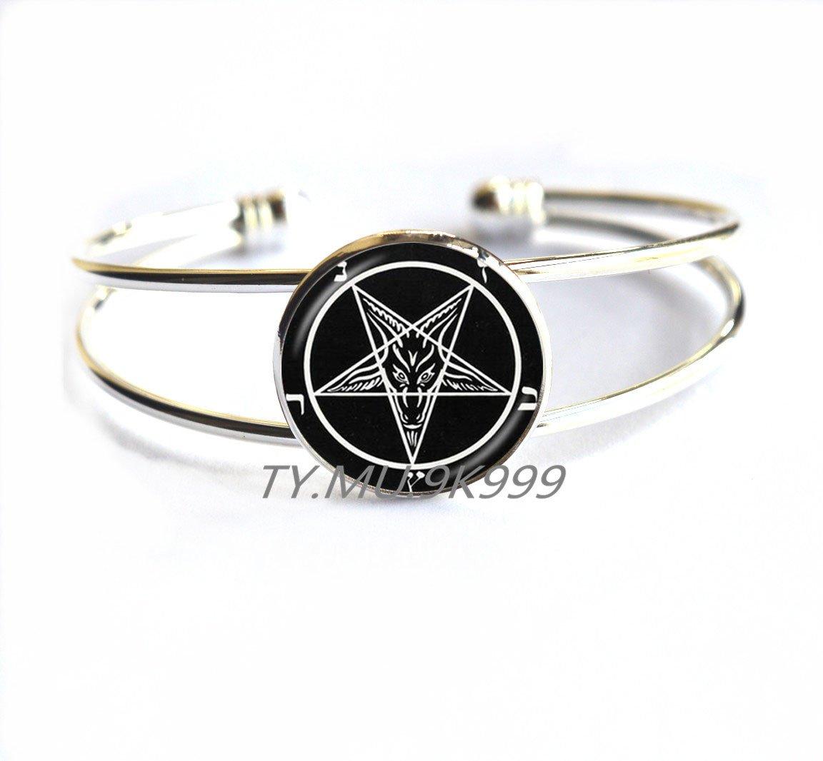 Amazon com: Satanic Baphomet Inverted Pentagram Bracelets Gothic