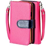 SOJITEK Samsung Galaxy Alpha Premium Two Tone Series Pink Color Leather Wallet Case with Stand/ Removable Strap, Card & Money Pockets, ID Window Slots Pouches/ Smart Magnetic Reversible Flap