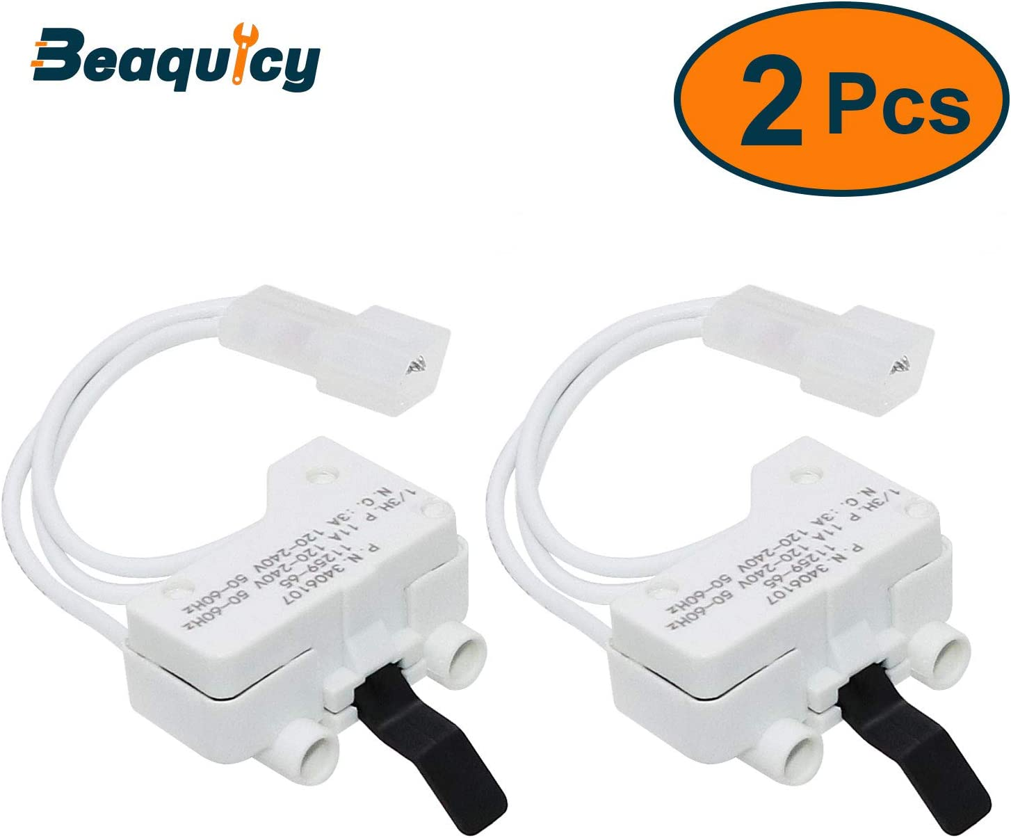 3406107 Dryer Door Switch by Beaquicy - Replacement for Whirlpool, Kenmore, Roper, Amana, Crosley Dryer - Replaces 3406109 (2-Pack)