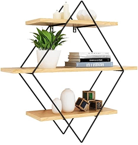 Amazon Com Moolo Storage Racks Shelf Geometry Wall Decoration Hanging Bedroom Pine Steel Size 80x22x80cm Home Kitchen