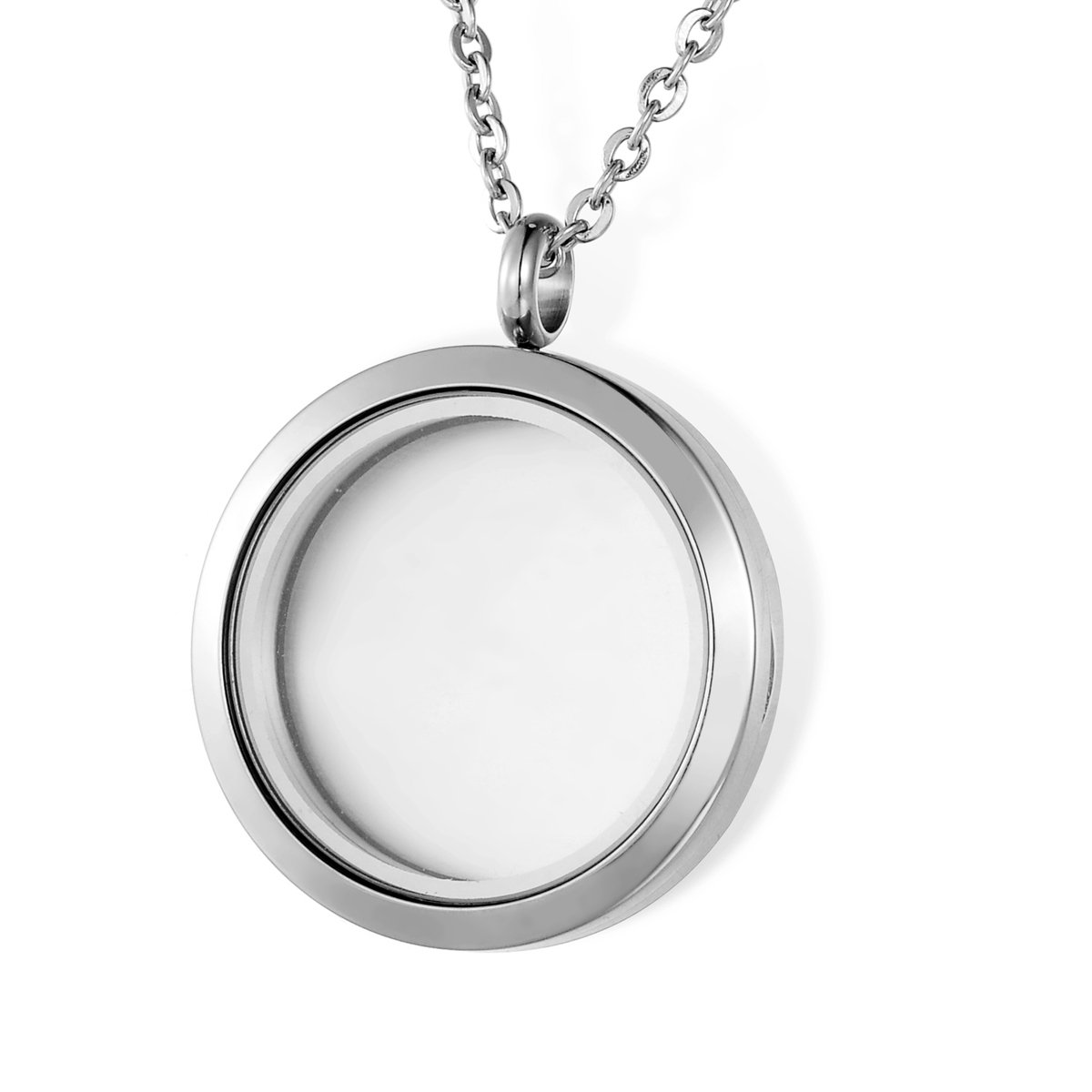 HOUSWEETY Round Magnetic Closure Floating Living Memory Lockets Pendant Necklace HOUSWEETYB107942
