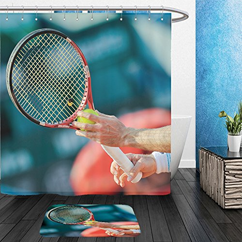 Zombie Tennis Player Costume (Vanfan Bathroom 2?Suits 1 Shower Curtains & ?1 Floor Mats bucharest romania september unidentified tennis player in action during brd nastase tiriac 194292191 From Bath room)