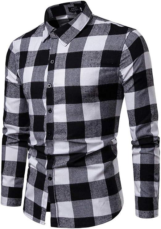 AFCITY-Shirt Camisas para Hombre Hombres Rejilla Camisa Acolchada Acolchada de algodón para Hombre Botones de Manga Larga con Cuello de Solapa y Corte Ajustado (S-XXL) Elegante Camisa de Vestir: Amazon.es: Hogar