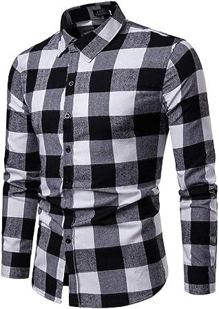 Weentop Hombres Rejilla Camisa Acolchada Acolchada de algodón para Hombre Botones de Manga Larga con Cuello de Solapa y Corte Ajustado (S-XXL) (Color : Negro, tamaño : L): Amazon.es: Hogar