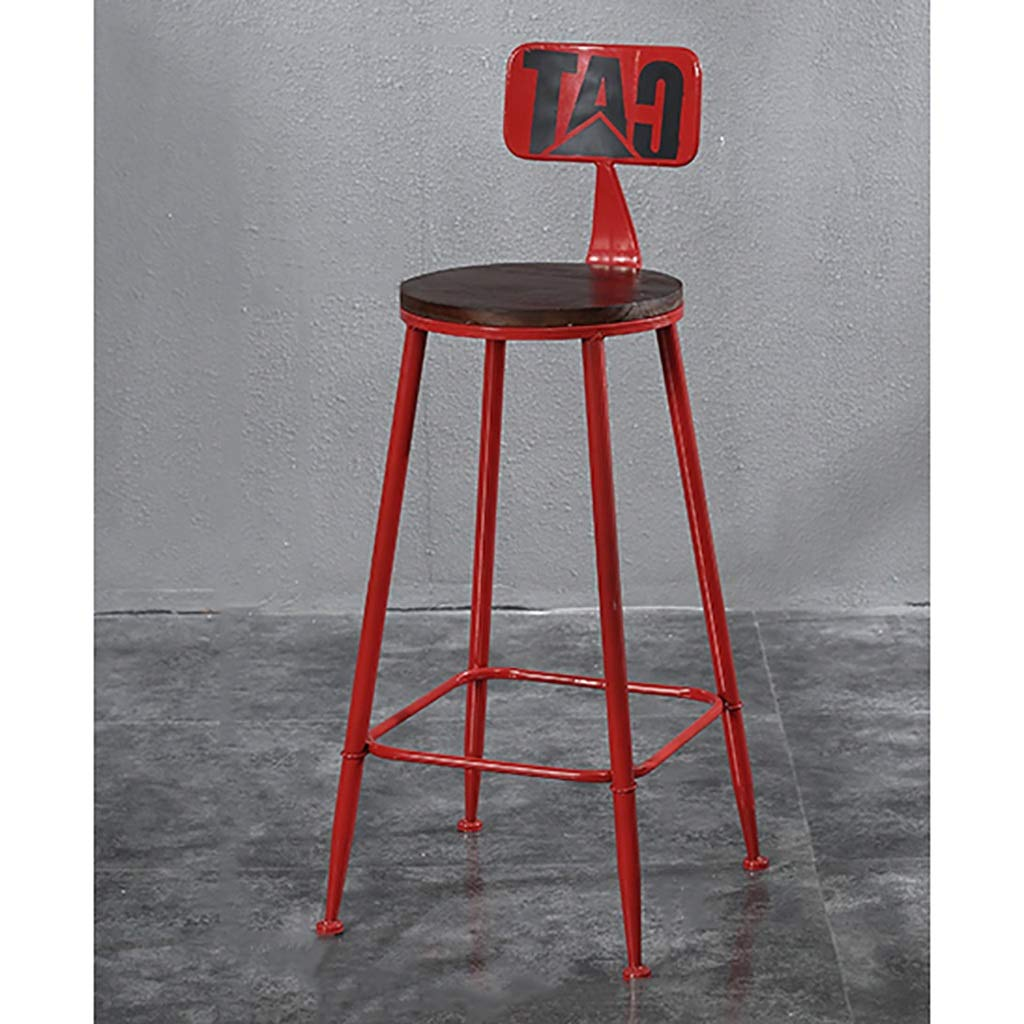 E NDD Bar Stools American LOFT Bar Chair Iron Art Retro Bar Stools Solid Wood High Stool Counter Stool (color   C)
