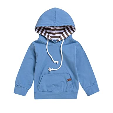 Pollyhb Infant Baby Boys Girls Solid Hooded Tops Toddler Pullover Sweater Outfits (0-6