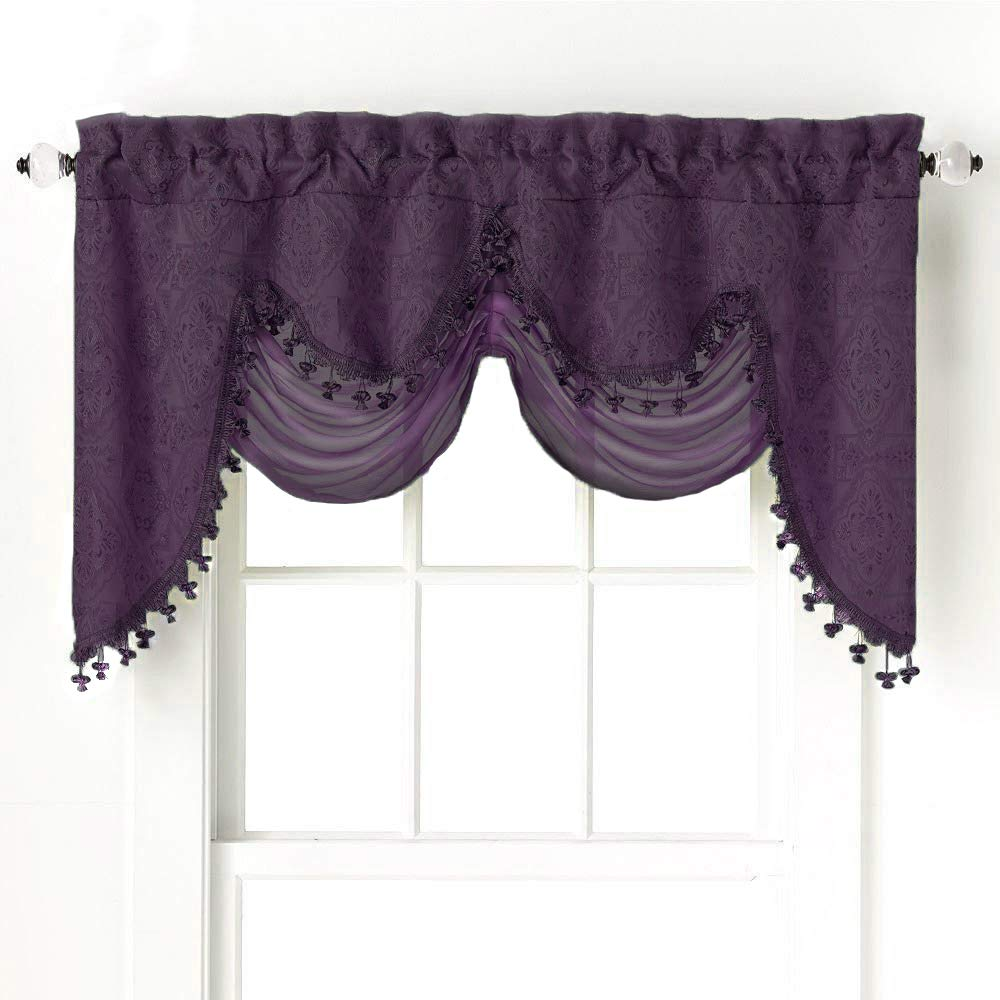 GoodGram Ultra Elegant Clipped Jacquard Georgette Fringed Window Valance with an Attached Sheer Swag - Assorted Colors (Purple)