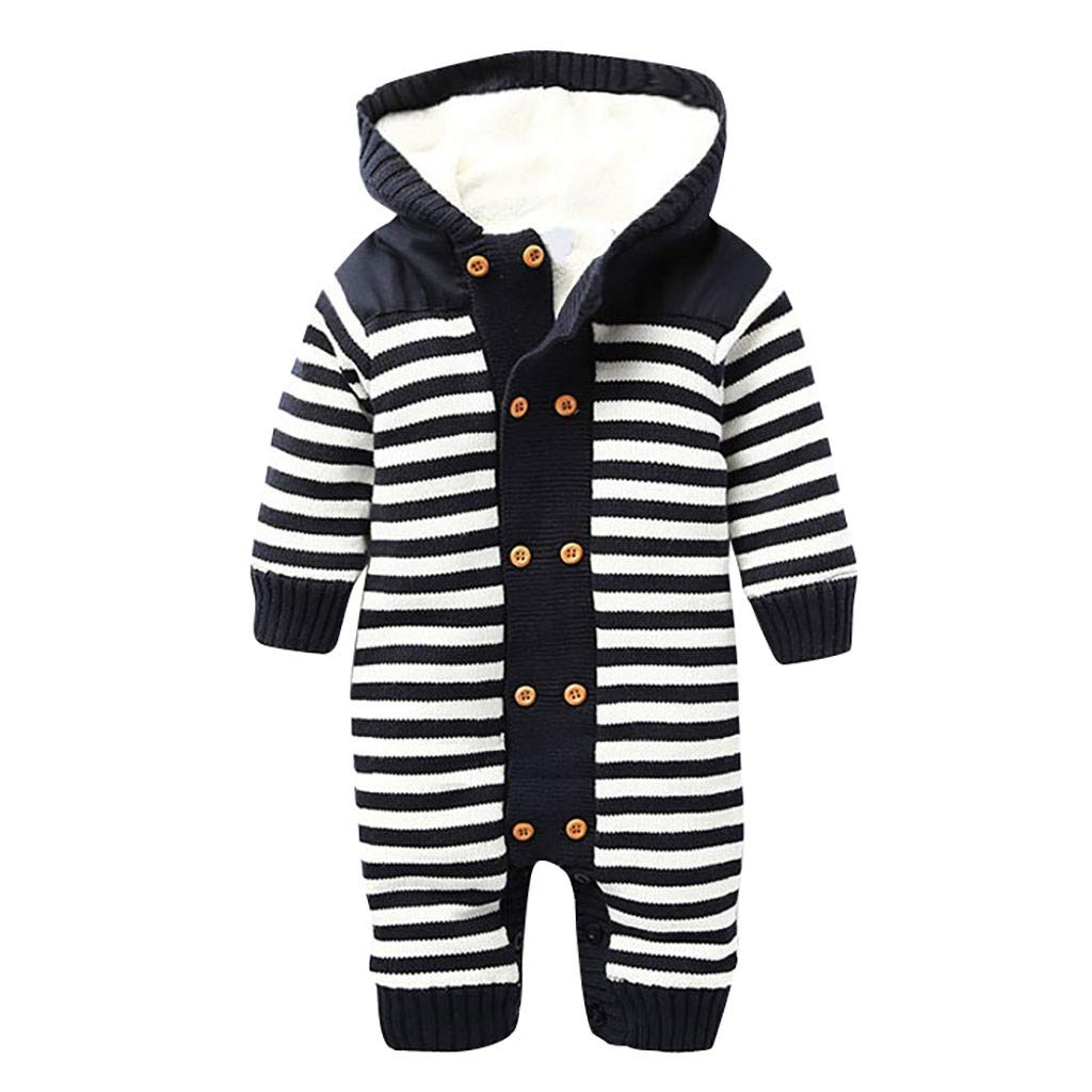 HebeTop Baby Romper Knit Winter Warm Long Sleeve Jumpsuit for Boys One Piece Overall Infant Baby Clothes Dark Blue by ▶HebeTop◄➟HOT SALES
