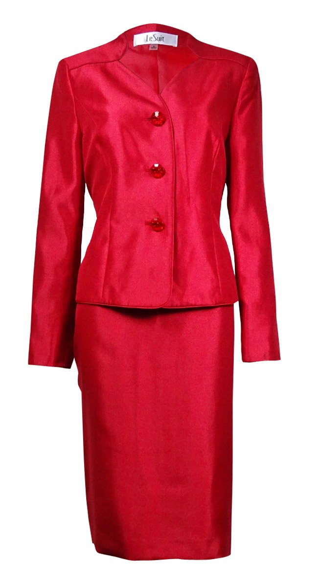 Le Suit Womens Button Collarless Skinny Jacket And Skirt, 8 by Le Suit