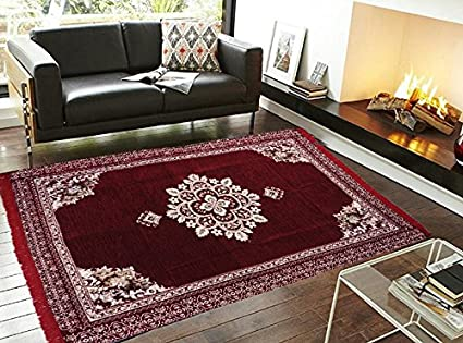 Ab Home Decor Modern Chenille Carpet - 84 x 55, Maroon