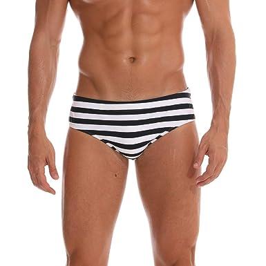b23f35ed51e94 Men Sexy Swim Briefs Striped Low-Rise Sexy Soft Triangle Thong Contour Pouch  Bikini Swimsuit