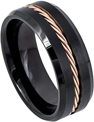 FREE SHIPPING FREE Custom Engravng 8mm Black Tungsten Band with Flat Edge Rhinoceros Pattern Ring Rhino Ring 8mm Black Tungsten Wedding Ring