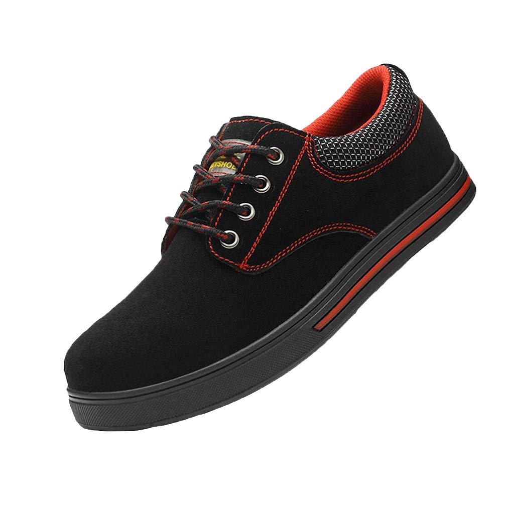 juqilu Chaussures de sécurité B01G9M6EQG Unisexes Chaussures en Acier à Bouts Lacets des Chaussures de Travail à Lacets à Lacets Respirant Noir 6204379 - jessicalock.space