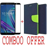 like it grab it Combo of Flip Cover Case with Mercury Magnetic Lock + Tempered Glass Screen Protector for ASUS ZenFone Max Pro M1/Diary Wallet Style (Blue)