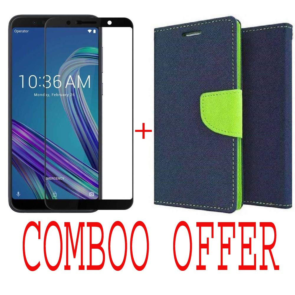 like it grab it Combo of Flip Cover Case with Mercury Magnetic Lock +  Tempered Glass Screen Protector for ASUS ZenFone Max Pro M1/Diary Wallet  Style