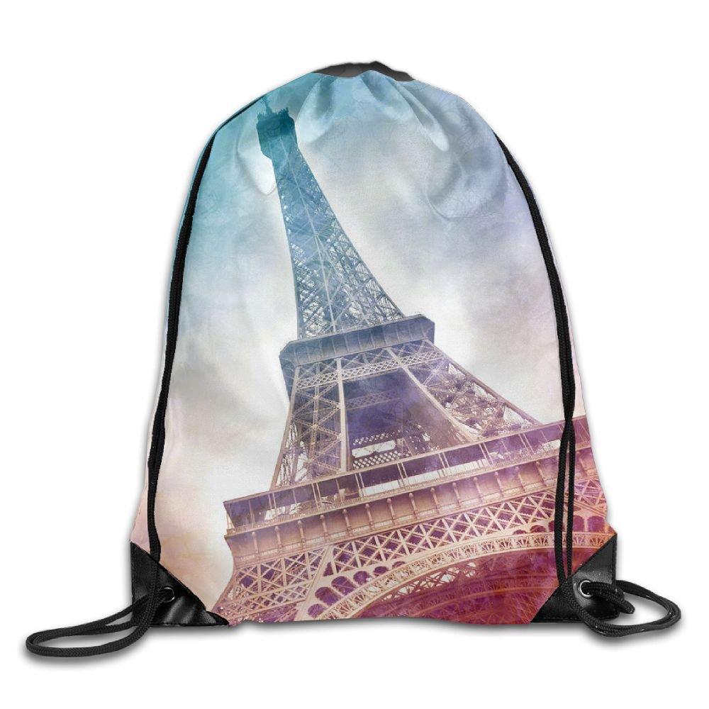 Eiffel Tower Art Drawstring Backpack Rucksack Shoulder Bags Training Gym Sack For Man And Women