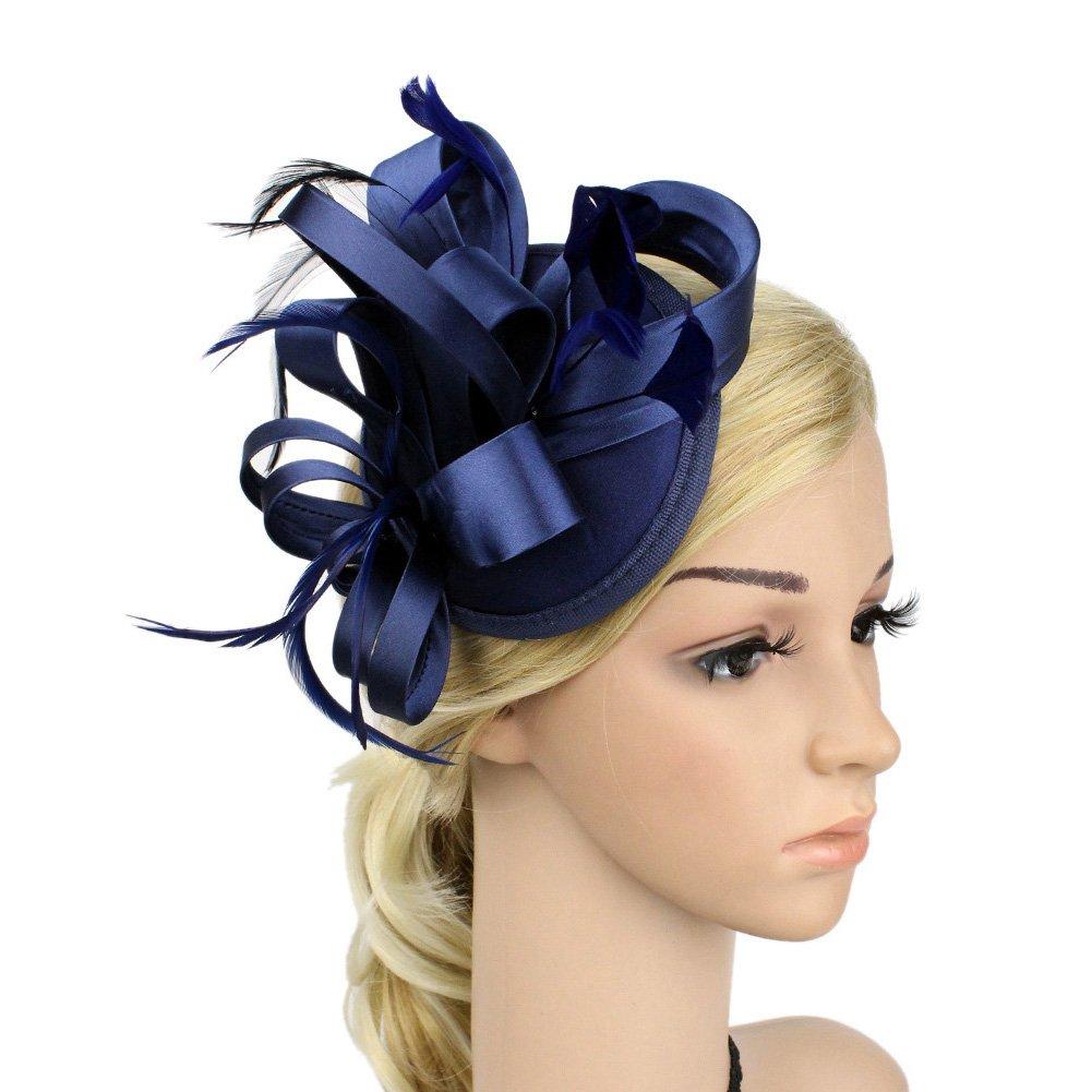 Satin Feather Fascinator Headdress Women Lady Wedding Bride Hat Hair Clip