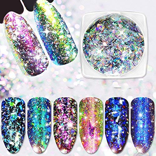 Minejin Nail Art Chameleon Sequins Laser Glitter Holographic Flakes Paillette Galaxy Mirror Powder 3 Boxes by Minejin