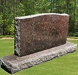 Dakota Mahogany Granite Upright Serpentine Monument Double Marker Split Face Headstone Gravestone