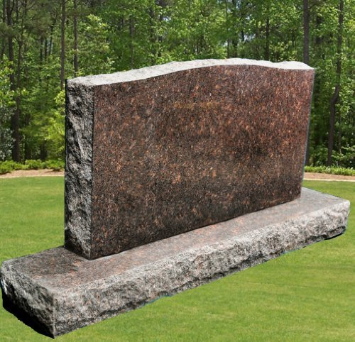 Dakota Mahogany Granite (Dakota Mahogany Granite Upright Serpentine Monument Double Marker Split Face Headstone Gravestone)
