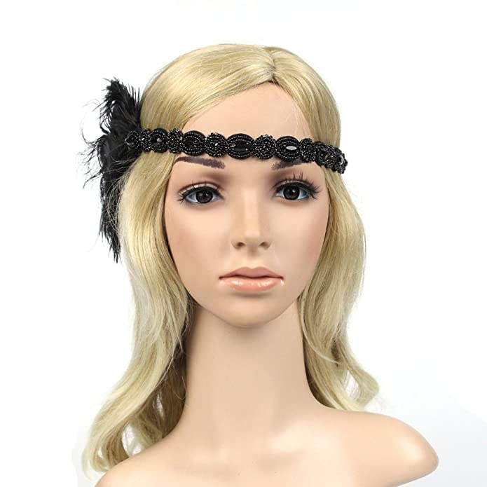 Charleston fascia per capelli con molla-NERO-GATSBY Gioielli per Capelli