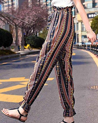 Blau Di Baggy Pantaloni Chiffon Estivi Eleganti Stripe Stampa Donna Pantaloni Inclusa Moda Sottile Fiore Lunga Semplice Alta Pantaloni Cintura Pantaloni Harem Trousers Lanterna Vita Glamorous Primaverile 4qd4F