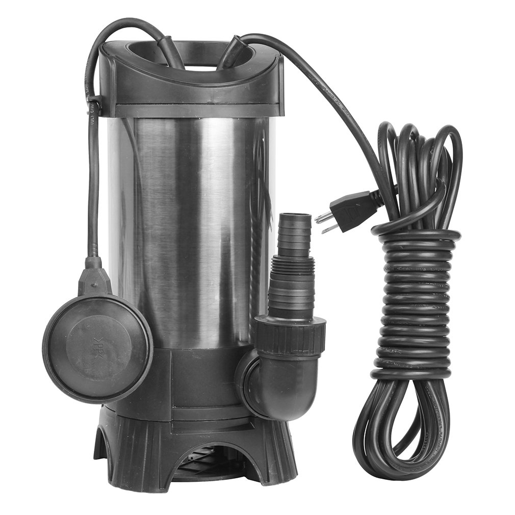 EXTRAUP 1HP 3435GPH Portable Stainless Steel Sump Submersible Clean Dirty Water Heavy Duty Drain Transfer Pump Pool Pond Flood Pump
