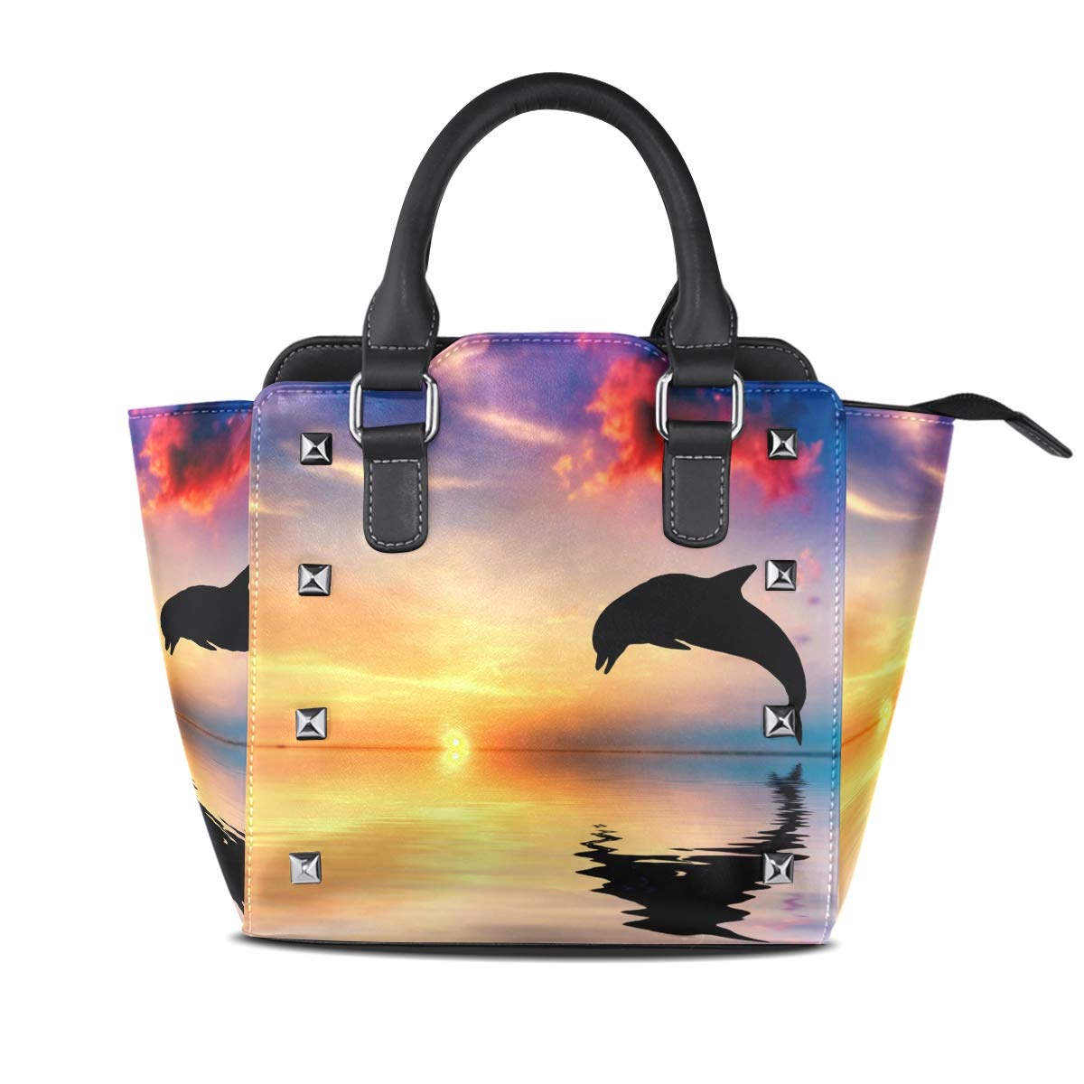 Design 1 Handbag Dolphins Out Of The Sea Sunset Genuine Leather Tote Rivet Bag Shoulder Strap Top Handle Women