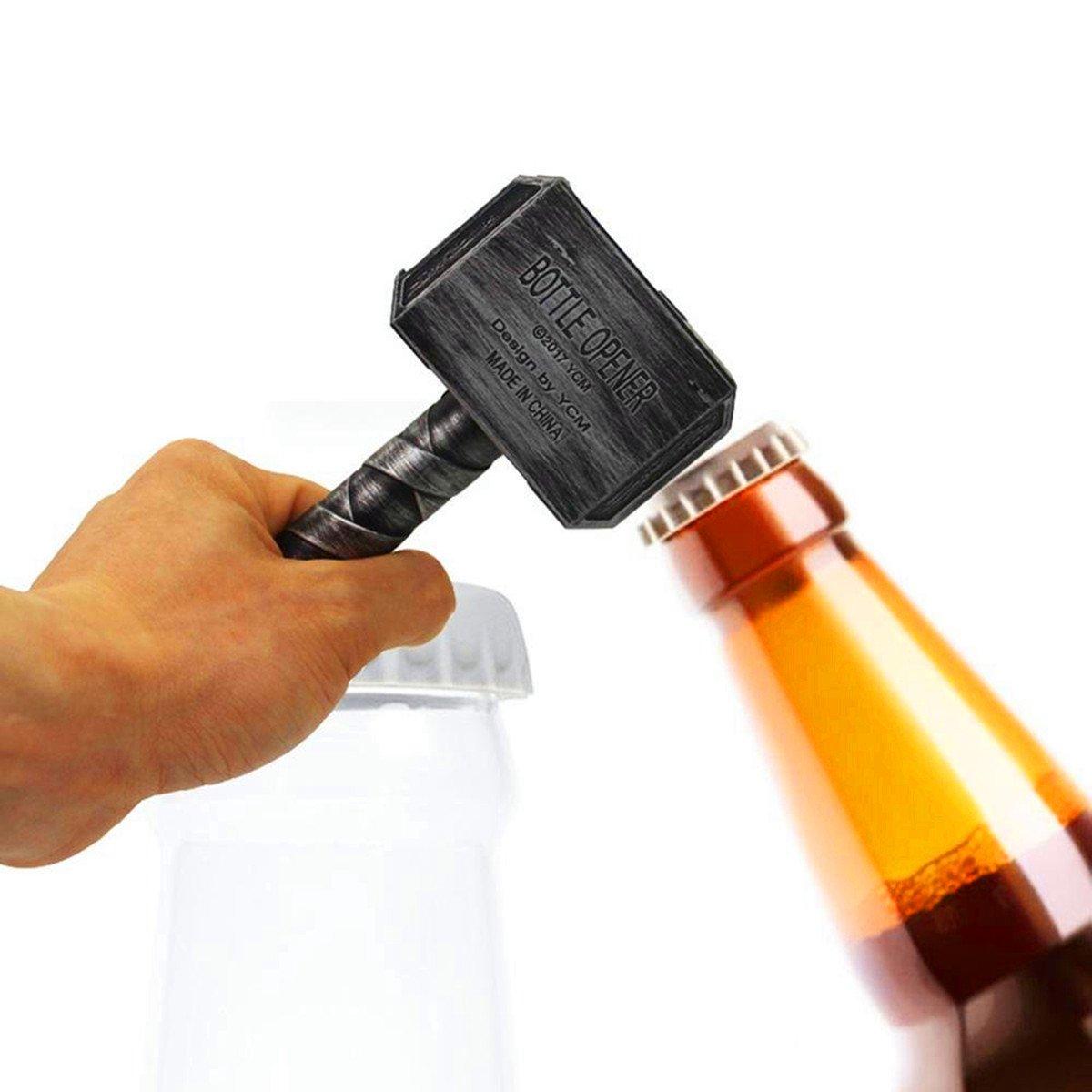 Huaup Bottle Opener, Beer Opener - Hammer of Thor Shaped Beer Bottle Opener, Corkscrew Beverage Wrench, Easy to Use Best Bottle Openers (Mjolnir Silver)
