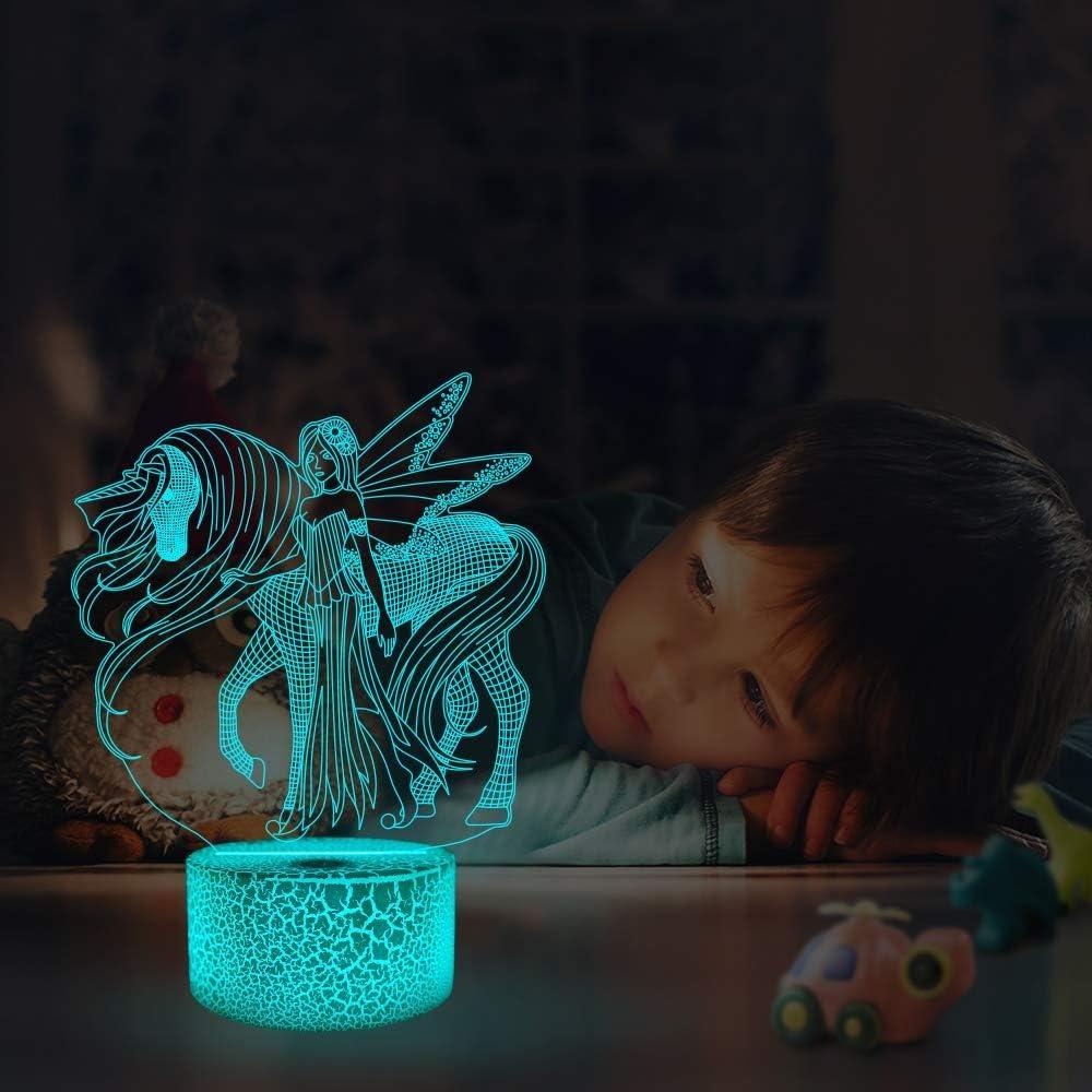 LED-Tisch-Schreibtisch-Lampen Pferd Die Schlafzimmer-Dekoration f/ür Kinder Weihnachten Halloween-Geburtstagsgeschenk beleuchten 16 Farben USB-Lade Illusion-Nachtlicht 3D