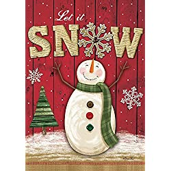 "Briarwood Lane Let It Snow Snowman Winter Garden Flag Primitive Snowflakes 12.5"" x 18"""
