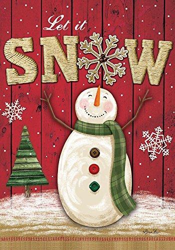 "Briarwood Lane Let It Snow Snowman Winter Garden Flag Primitive Snowflakes 12.5"" x 18"""