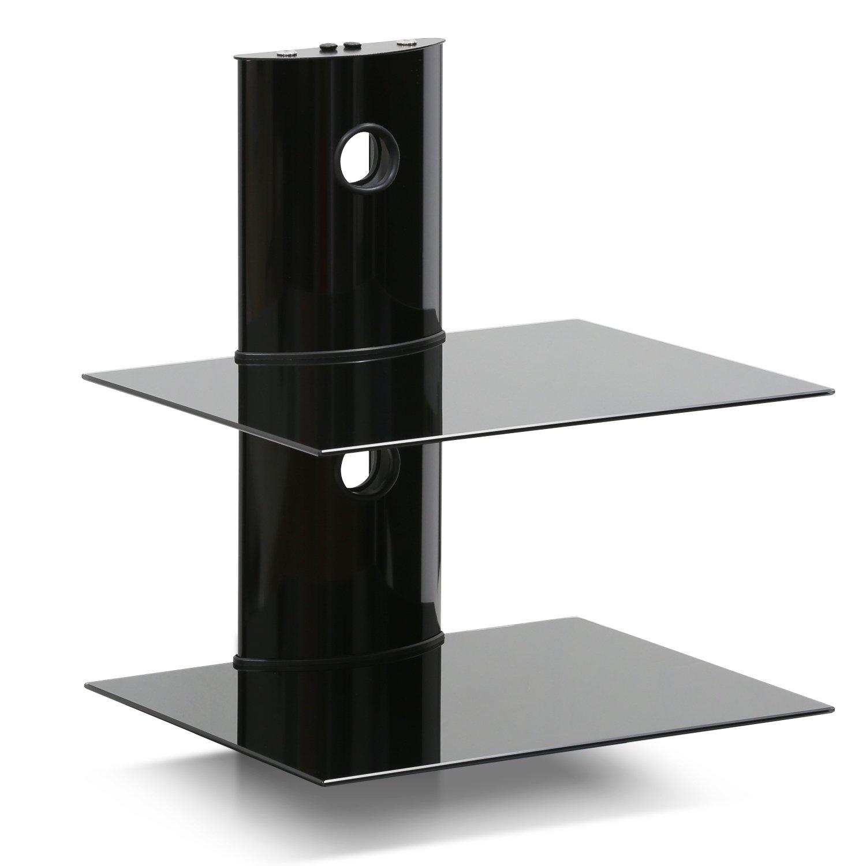 Furinno FRL001BK Modern 2-Tier Floating Entertainment Wall Shelf