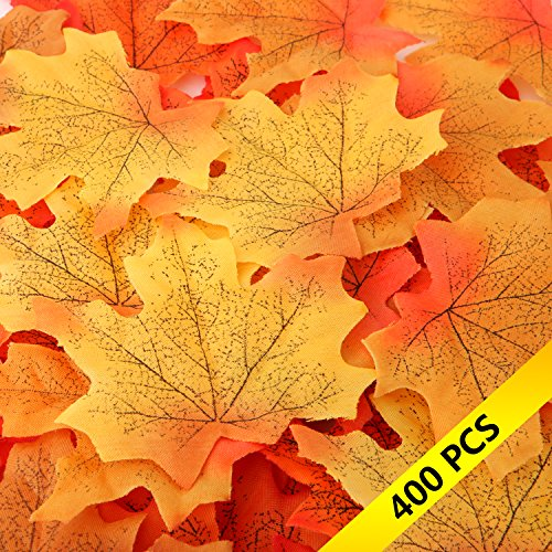 400 Artificial Silk Maple Leaves MerryMore 4 Colors Mixed Fall Colored Silk Maple Leaf Fake Autumn Leaves Leafs for Weddings, Events, Decoration, Autumn & Thanksgiving (Maple Silk Tree)
