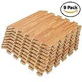Interlocking Puzzle Wood Mat (Light Wood 9 Floor Tiles)