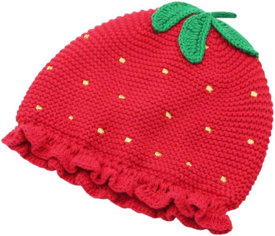 DDHZTA Bebé Infantil otoño e Invierno Sombrero Hecho a Mano Crochet Flor Fresa Chica línea Gorro cálido Sombrero Lindo bebé Cap,L