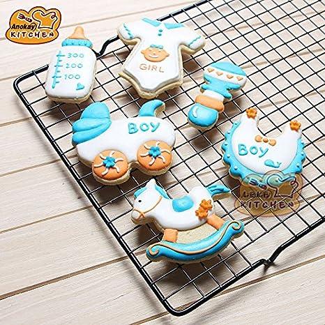 Anokay Juego de 6 moldes para galletas, diseño de bebé, acero inoxidable, accesorios para decorar galletas-: Amazon.es: Hogar