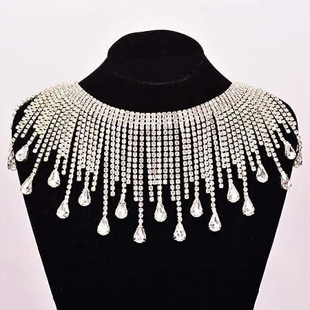 PENVEAT 45cm Costura Diamantes de imitación Flecos Cadena Piedras ...