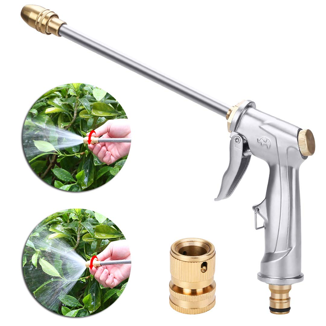 niahode Garden Hose Nozzle, Heavy Duty Metal Spray Gun, 360° Rotaing Water Adjustmen High Pressure Leak Proof Pistol Grip Sprayer for Car Washing, Plants Watering, Pets Shower, Cleaning (Long, Silver)