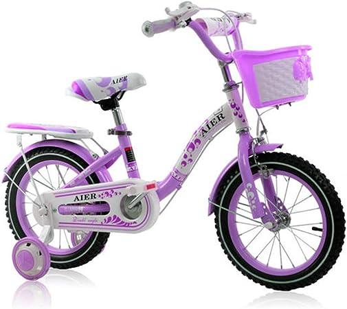 KOSGK Bicicleta Bicicletas Bicicleta Princesa 2-10 AñOs 12 \ 14 \ Cochecito Pedal para NiñA 16 Pulgadas (Color: PúRpura, TamañO: 12 Pulgadas): Amazon.es: Hogar