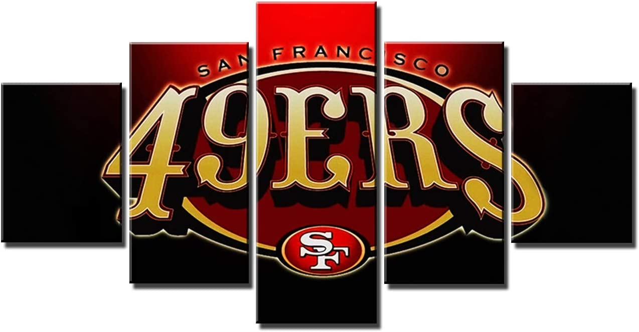 San Francisco 49ers Wall Decor Art Paintings 5 Piece Canvas Picture  Artwork Living Room American Football Prints Poster Decoration Wooden Framed Ready to Hang(60''Wx32''H)