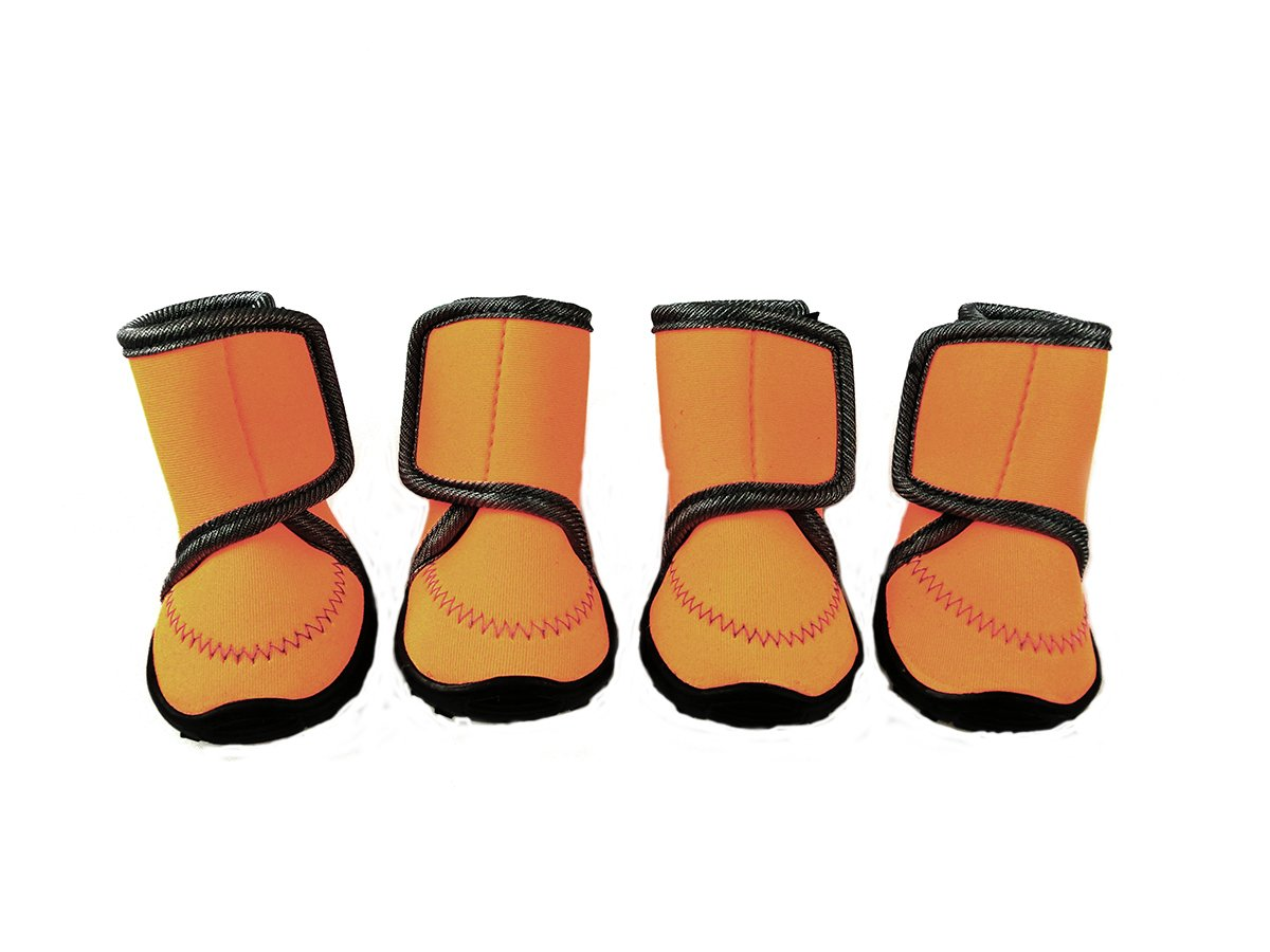 Xanday Dog Boots Waterproof Dog Shoes Paw Protectors with Adjustable Straps and Wear-resisting Soles 4 Pcs (M, Orange)