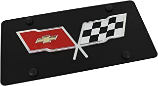 product image for Chevrolet Eurosport Daytona- Compatible with 1968–1982, Corvette C3 Flags License Plate on Black Steel