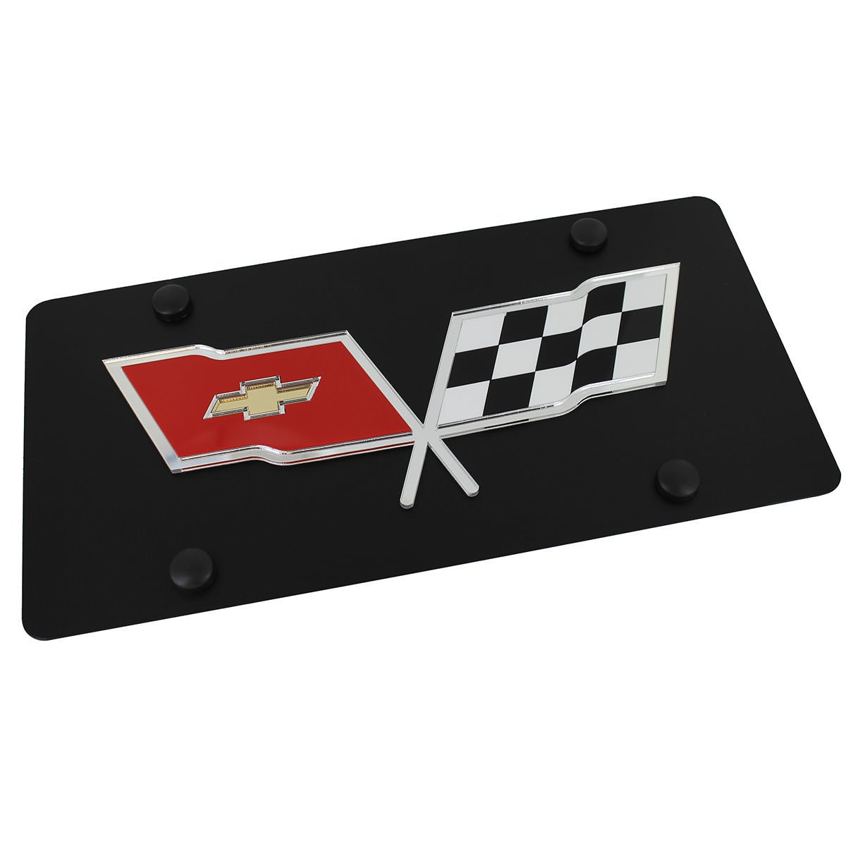 Chevrolet Corvette C3 Flags License Plate on Black Steel Chevy