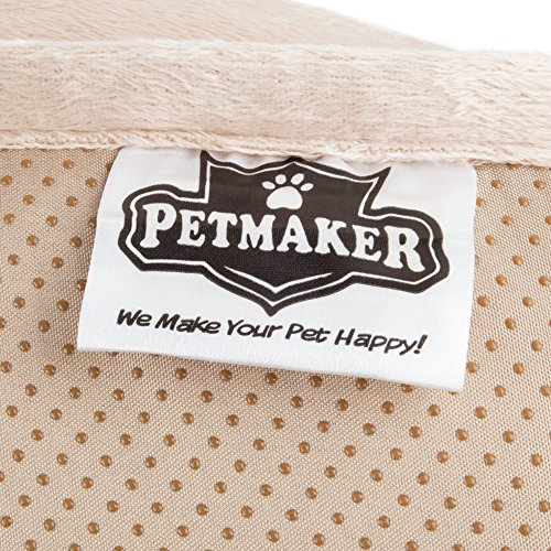 "Furniture Protector Pet Cover for Dogs and Cats with Shredded Memory Foam filled 3-Sided Bolster Soft Plush Fabric by PETMAKER – 35"" x 35"" Beige by PETMAKER (Image #4)"